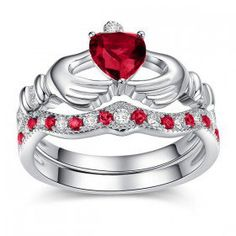 Heart Cut Created Ruby Rhodium Plated 925 Sterling Silver Claddagh Ring / Engagement Ring Set