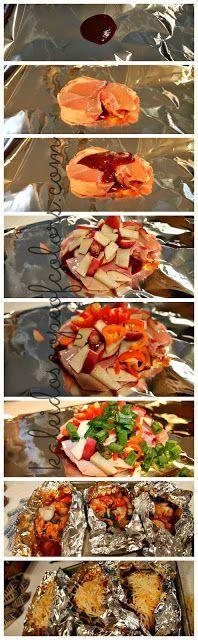 BBQ Chicken and Cheddar Foil Packet Dinner - Joybx