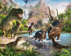 Dinosaurus behang kamer julius