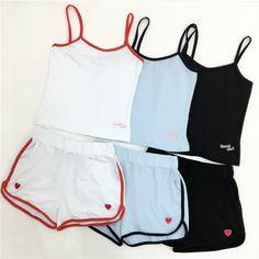 Harajuku esporte terno mulheres 2016 coreano verão novo treino do clube do coração do pêssego coração letras lazer embriodery 2 peça definir mulheres