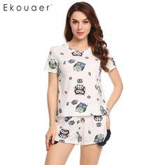 4d6aa2985 Women O-Neck Short Sleeve Print Owl Nightshirt Casual Ruffles Short Pajamas  Set Hot Sale