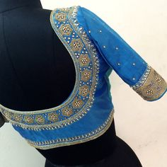 A Beautifully Crafted Collection Of Blouses With Work At Neck Line & Sleeves Pattu Saree Blouse Designs, Bridal Blouse Designs, Magam Work Blouses, Aari Work Blouse, Blouse Patterns, Sleeve Designs, Saree Collection, Blue Blouse, Sarees