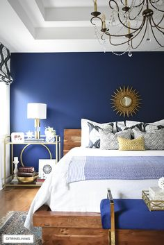 Gorgeous Boho-Glam bedroom with brass, navy blue, and natural elements is the pe. - Gorgeous Boho-Glam bedroom with brass, navy blue, and natural elements is the perfect blend of old - Glam Bedroom, Diy Home Decor Bedroom, Bedroom Vintage, Trendy Bedroom, Cozy Bedroom, Bedroom Ideas, Bedroom Pictures, Girls Bedroom, Master Bedroom
