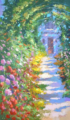 """Aley in the garden - Oil Palette Knife Painting on Canvas by Dmitry Spiros. Size: 26""""x40"""" (65 cm x100 cm)"""