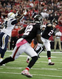 Chargers vs. Falcons:     October 23, 2016  -  33-30, Chargers  -    Atlanta Falcons quarterback Matt Ryan (2) works against the San Diego Chargers during the first half of an NFL football game, Sunday, Oct. 23, 2016, in Atlanta.