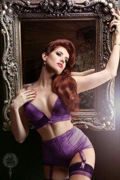 redhead lingerie Sexy purple