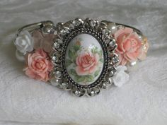 Shabby Chic Pink Rose Cuff Bracelet Bridal by RalstonOriginals, $25.00