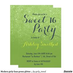 Modern girly faux green glitter ombre Sweet 16 Card A modern, pretty faux green glitter shower ombre with color of the year greenery color block Sweet 16 birthday party invitation Perfect for a princess Sweet sixteen, perfect for her, the fashionista who loves modern pattern and glam