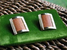 Mid Century Modern 60's Faux Wood Inlaid Clip On Earrings by dazzledbyvintage on Etsy
