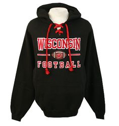 Wisconsin Football Laces Hooded Sweatshirt