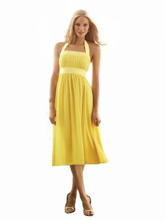Tea-length yellow bridesmaid dress, wide strap halter dress in nu-georgette is trimmed with matte satin. The trim can match or contrast with the main dress color.