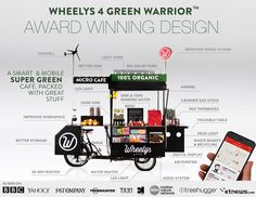 Wheelys 4 mobile cafe produces fresh coffee and fresh air Mobile Coffee Cart, Mobile Food Cart, Mobile Coffee Shop, Food Cart Design, Food Truck Design, Food Cart Business, Business Ideas, Green Warriors, Bicycle Cafe