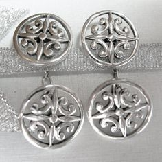 solid sterling silver 925 filigree Celtic cufflinks (see-through patterns) linked with solid chains. Beautiful great gift idea for Celtic themed weddings