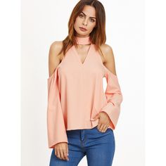 Cutout Choker Cold Shoulder Top PEACH ($20) ❤ liked on Polyvore featuring tops, pink, pink shirts, cut out shoulder top, cutout tops, red top and cut out shoulder shirt