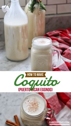 Coquito is Puerto Rican eggnog, made with rum and coconut milk. This is my adaptation of my family's traditional coquito. This is the BEST coquito recipe! Coquito Drink, Eggnog Drinks, Yummy Drinks, Cold Drinks, Fun Drinks, Best Coquito Recipe, Authentic Coquito Recipe, Coquito Recipe With Eggs, Coconut Eggnog Recipe