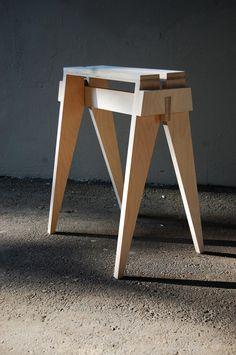 Ožka. Goat stool by Austeja Platukyte, via Behance. Flatpack