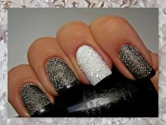 Black & White Smoky Crystal Nails