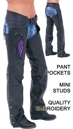 Purple Wings Leather Chaps for Women with Pant Pockets