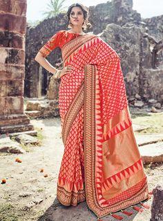 Red Banarasi Silk Patch Lace Work Saree 121802