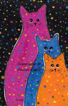 Fiesta PolkaDot Kitties Blue Orange Magenta Pink by DeniseEvery
