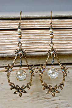 Chantel. French romantic,rhinestone drop,long earrings. Tiedupmemories