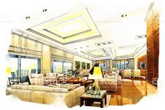 sketch perspective interior living into a watercolor on paper. royalty-free stock photo