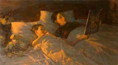 pintura de Vladimir Mullin Russian Painting, Figure Painting, Painting Art, Kids Reading, Reading Art, Woman Reading, Book People, Portraits, Christmas Scenes