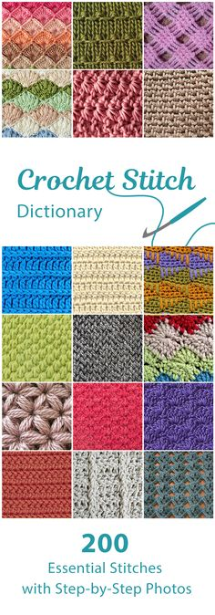 Great for new and experienced crocheters alike, Crochet Stitch Dictionary offers 200 stitches with detailed written, charted, and photographed instructions. This essential book presents 10 color-coded stitch sections: Basic stitches, Fans & Shells, Bobbles & Clusters, Spike stitches, Post stitches, Mesh & Filet, Cable stitches, Tunisian stitches, and more!