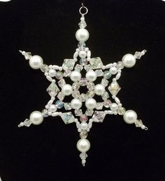Snowflake Ornament - White Pearl and Clear AB - Christmas Ornaments - Beaded Ornaments - Holiday Decorations. $4.50, via Etsy.