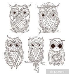 owl drawing & owl + owl tattoo + owl drawing + owl tattoo design + owl art + owl tattoo for women + owl crafts + owl tattoo men Owl Coloring Pages, Coloring Books, Doodle Coloring, Owl Vector, Vector Art, Bobbin Lace Patterns, Crochet Patterns, Buho Tattoo, Tattoo Owl