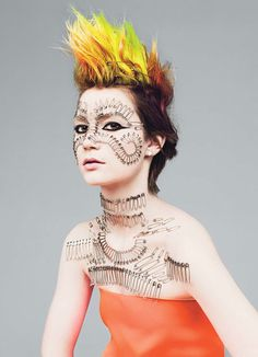 orange yellow and green hair