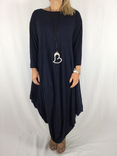 Lagenlook Quirky Long Plain Tunic in Washed navy. code 3093 Coding 8ce10fc7ed65
