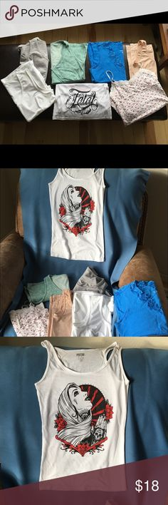 💀7 PIECE TANK LOT. M & L NO RIPS OR STAINS! 💀7 PIECE TANK LOT. M & L NO RIPS OR STAINS! FATAL TANK IS SOFT AND SHOWS A LITTLE USE, COLDWATER CREEK , MARILYN MONROE & LOTUS SPANDEX BODY SHAPERS , ROYAL ROBBINS & CHAMPION ATHLETIC TANKS SZL, AEROPOSTALE BABY DOLL CAMI WITH ADJ STRAPS. CLEAN AND NICE BUNDLE!  I HATE IRONING SO NOT IRONED FATAL Tops Tank Tops