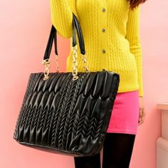 Fashion Korean Zipper Black PU Shoulder Bag