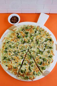 Creamy Double Broccoli Pizza (via abeautifulmess.com)