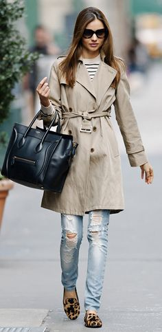 Trench + jeans +lepard print