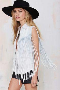 Blank NYC Cowboy Ride Away Fringe Denim Top - Shirts + Blouses