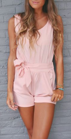 Pink bow romper