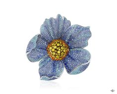 Les Ateliers Creations by Van Cleef & Arpels -Pavot de l'Himalaya clip, Palais de la chance collection-White gold, blue sapphires, Paraiba-like tourmalines, yellow gold, yellow diamonds.The Pavot de l'Himalaya clip from the Palais de la chance ...