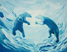 Beginners learn to paint full acrylic art lesson of underwater view of polar bears swimming. This is a Fun polar bear painting you will love!!   For the traceable and more info https://theartsherpa.com/tas171126.01
