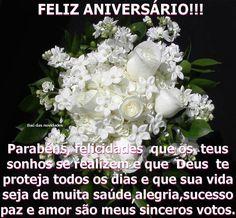Parabéns, felicidades que os teus sonhos se realizem e que Deus te proteja todos os dias