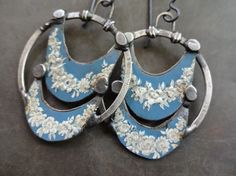 Hey, I found this really awesome Etsy listing at https://www.etsy.com/listing/195253586/sterling-silver-blue-tin-earrings