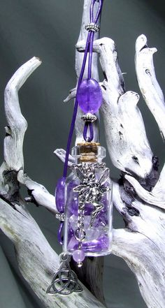Amethyst & Clear Quartz Crystal Rear View Mirror Charm Wicca Bag Charm Tiny Bottle Fairy Silver Celtic Knot Car Accessories Protection Gift by TigerEmporium on Etsy