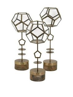 Home Decor: Imax Jada Terrarium Stands - Set Of 3 81647-3 Home Decor New BUY IT NOW ONLY: $123.07