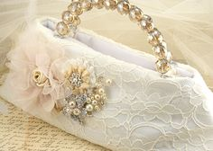 Bridal Clutch in Ivory and Champagne with Lace, Crystals, Pearl and Brooch.  Vintage Inspired   $160