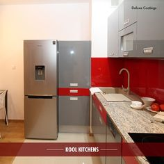 Red, White and Steel is still a popular colour for kitchens while making a bold statement. #kitchens #Malaga #perth