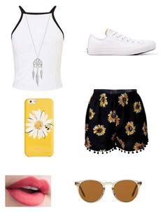 """Flower summer outfit!"" by liafrancescaholmes ❤ liked on Polyvore featuring Miss Selfridge, Lucky Brand, Converse, Kate Spade and Oliver Peoples"