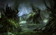 Swamp, Nele Diel on ArtStation at https://www.artstation.com/artwork/VDzB4