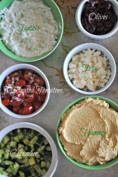 Mediterranean 7 Layer Dip  Ingredients      2 cups homemade cucumber yogurt dip     1 cup diced English cucumber     1 teaspoon sugar     2 teaspoons white wine vinegar     1 cup quartered cherry tomatoes     2 tablespoons chopped red onion     1/2 teaspoon ground oregano     1/2 cup olives     1/2 cup crumbled feta cheese     salt and pepper to taste