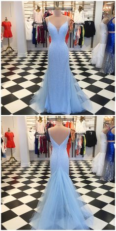 Charming Blue Mermaid Prom Dress, Sexy Spaghetti Straps Long Prom Dresses, Formal Evening Dress P1019 #promdresses #longpromdress #2018promdresses #fashionpromdresses #charmingpromdresses #2018newstyles #fashions #styles #hiprom #prom #blueprom #mermaid